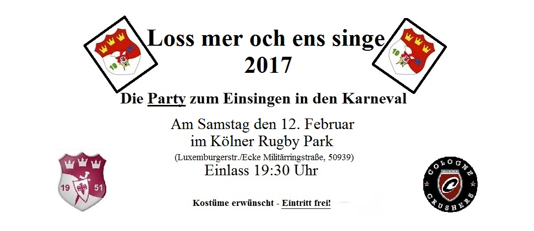 rugby sport verein k ln loss mer och ens singe 2017 mit. Black Bedroom Furniture Sets. Home Design Ideas